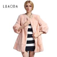 Free shipping 2014 autumn and winter women's rex rabbit hair fur coat medium-long full leather fur
