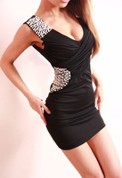 2014 summer in Europe and America new nightclub sexy low-cut dress  package hip Slim sequin dress