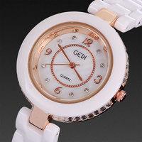 Ceramic watch women 2014 brand white rose gold case luxury rhinestone crystal bracelets fashion casual free shipping wholesale