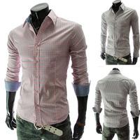 Free Shipping 2014 Hot Sale New Design Autumn Mens Plaid Shirt,Casual Slim Fit Stylish Dress Shirts For Men,Size M~XXL