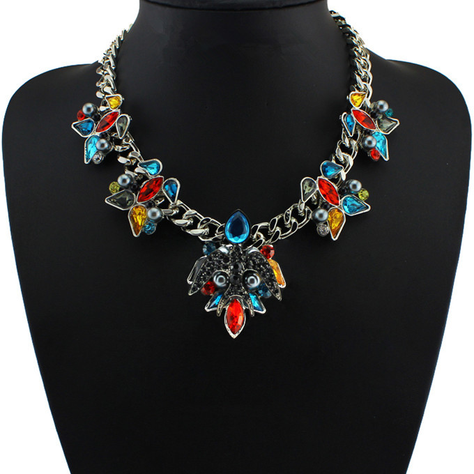2014 Newest Design Brand Women Jewelry Acrylic Chain Necklaces & Pendants crystal Statement Necklace Flower Pendant Necklace(China (Mainland))