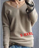 Women Wool Sweater Winter Women Thick Sweater Knitting Winter Sweater Women Long Sleeve Bat Sleeve Sweaters V Neck Pullover A108