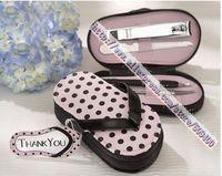 slipper style Pink Polka Dot Purse Manicure Set