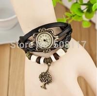 DHL free shipping to US  60pcs/lot Vintage Retro Evergreen tree pendants leather bracelet watch women quartz wristwatch Montre