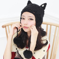 New2014 Women winter  knitted hat  with cat ear hat devil horn caps with 2colors free size Christmas gift
