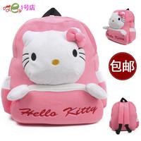Lovely children school bag kindergarten medium pink KT cat backpack for age 3-4 cartoon plush bag little girls gift p65