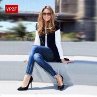 2014 women's jeans summer thin stretch cotton pencil hole 9 pants