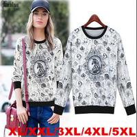 Lanluu Plus Size To 5XL New Autumn Print Horse Long Sleeve Shirt Women Casual Sweatshirts SQ833