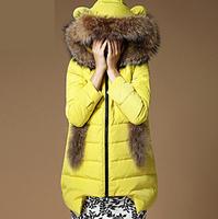 2014 Winter Medium-Long Down Coat Fox Fur Collar Gloves Pocket Down Jacket Ladies Winter Warm Overcoat Thick Free Shipping  #506