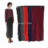 Women Casual High Waist Side Split Knit Pencil Stretch Bodycon Slim Long Skirt 10pcs