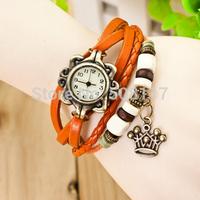 DHL free shipping to US  60pcs/lot Cheap ladies leather bracelet watch Crown montre women bracelet  wrist watch quartz lady