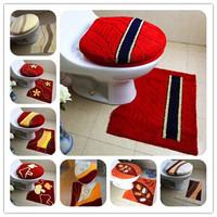 11colors super soft winter flock printing three piece set mats toilet mat toilet seats cover bathroom mats HD1013