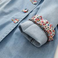 2014 children's clothing female child 100% medium-long cotton denim outerwear sleeves small water wash