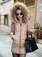 New 2014 Winter Duck Down Jacket Women Fashion Fur collar Hooded Thickening Long Clothing Color Windproof Stitching Casual Coat