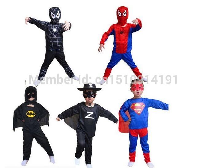 Free Shipping Party Supplies Superman Spiderman Batman Halloween Costume For Kids Children Christmas Costume(China (Mainland))