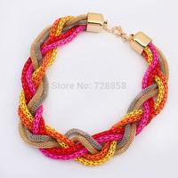 Free shipping Lady  temperament flashing diamond fine necklace vintage Americanstyle boho twist necklace female snake bone chain