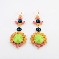 2014 New Style Luxury Statement Colorful Stones Flowers Dangle Earrings Women Fashion Brand Earring Jewelry Accessories