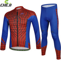 2014 Cheji  Arrivel  Spider man  Bike Team Autumn Cycling   Long Jersey Long Pants sets Wholesale High Quality Bike Clothing
