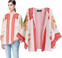 New 2014 Autumn European Retro Kimono Cardigan Floral Printed Women Coats Chiffon Long Sleeve Ladies Jackets Coats SY0721
