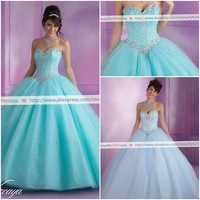 New Arrival Lace-up Back Strapless Ball Gown Sexy Quinceanera Dresses 2014 With Shining  Crystal Dress for 15 Years Custom Made