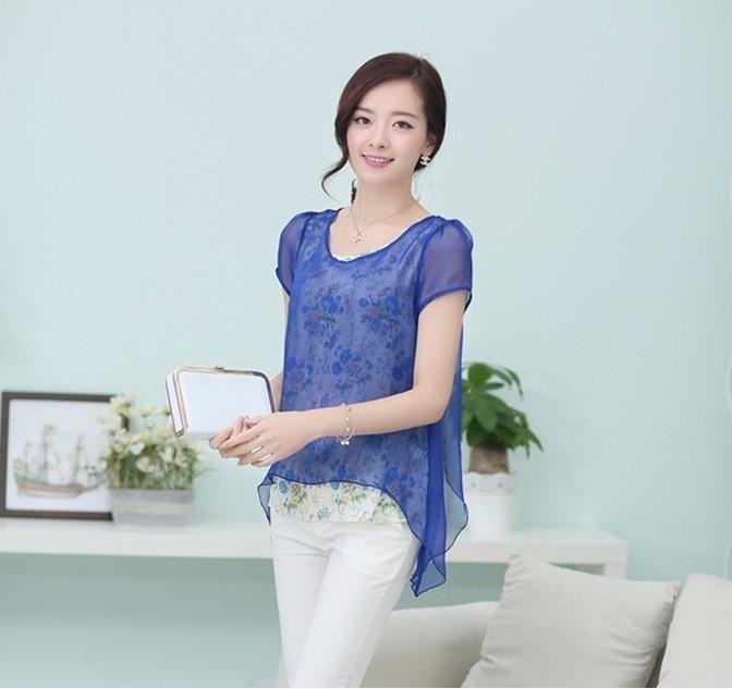 Frete grátis ! 2014 mulheres verão encabeça plus size moda chiffon fantasia blusa azul marinho lavanda verde M- XXL(China (Mainland))