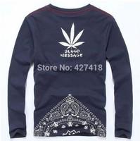 new 2014 autumn men's clothing Blood message long-sleeve O-neck T-shirt 100% cotton HARAJUKU print t shirts free shipping