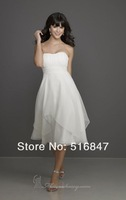 2014 New Fashion White/ivory Knee length Organza Strapless Party Prom Dresses Bridesmaid Dresses Custom Size Free Shipping