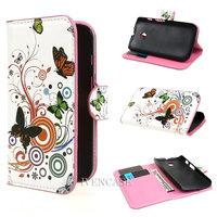 Butterfly Flower 22 Wallet Leather Card Holder Flip Case Cover For Motorola Moto E Dual XT1021 XT1022