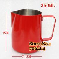 New 350ml Professional Black/red/white/green Milk Pitcher Milk Foaming Jug/Teflon stainless steel milk cup espresso tools