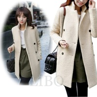 2014 new fashion women Hitz Korean version double-breasted apricot wool coat elegant solid long sections woolen coat female