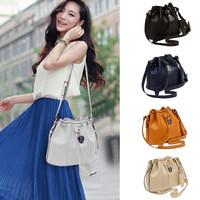 New Fashion Women Girl Shoulder E Bag PU Leather Drawstring Crossbody Messenger Bucket Bag bolsas femininas Dark Blue