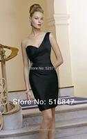 2014 New Fashion Formal Black Beaded Satin Party Prom Dresses Bridesmaid Dresses Custom Size Free Shipping