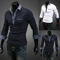 Fall 2014 new fashion men's long-sleeve pure color polo shirt casual slim cotton shirt polo men free shipping, plus size M~XXL