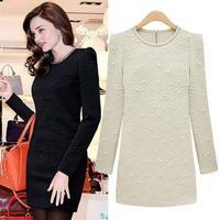 2014 Women Brief Pure Color Long Sleeve Slim Cotton Dress Unique Design Geometric Pattern Noble Elegant Short Dresses 8109