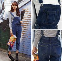2014 New Women Overalls Jeans Pants Fashion Lady Pockets Denim Jumpsuits Plus Size Loose Female Rompers Trousers Women Pants XL