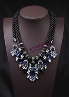 luxury crystal multicolour gem necklace short design vintage fashion female accessories 10  Free Shipping