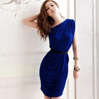 Vintage Pinup Dresses Slim Waist Sleeveless One-Shoulder Vestido Simple Look Pure Color Sexy Women Cocktail Party Dress 8177