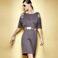 Fashion Brand Dresses Luxury Half Sleeve Off The Shoulder Loose Big Size Vestido Sequined Decorated Noble Desigual Dress 8112