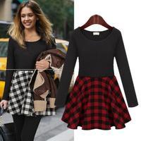 Dresses Autumn Winter Long Sleeve Plaid Printing Knitting Cotton Vestido Fashion Slim England Style Basic Dress Female 9006