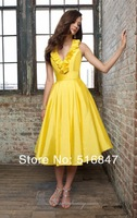 2014 New Fashion Formal Yellow V Neck Satin Party Prom Dresses Bridesmaid Dresses Custom Size Free Shipping