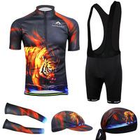 2014 Mens FireTiger Bicycle cuff Full Set Cycling Jersey Short Sleeve With bib shorts Cycling Clothing   CC2008