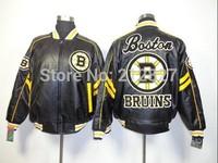 Free shipping wholesale jacket  Boston Bruins Leather hockey Jacket