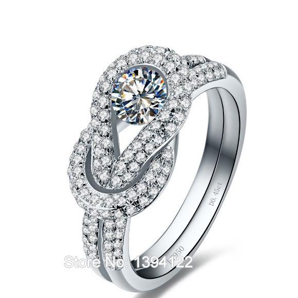 Slipknot pave definir 0.45 Ct. sona simular anel de diamantes de noivado para a mulher em branco banhado a ouro(China (Mainland))