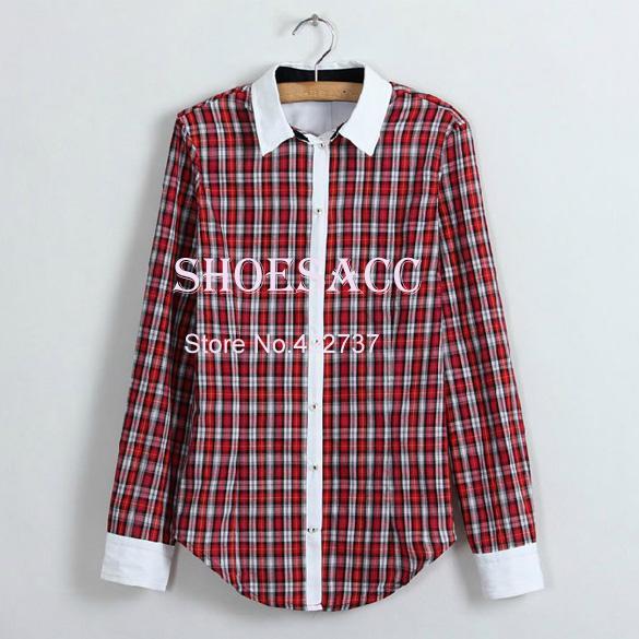 nova moda mulher manga longa xadrez casual de lapela mulheres camisas de algodão roupas 2 cores b22 13006 senhoras blusa(China (Mainland))