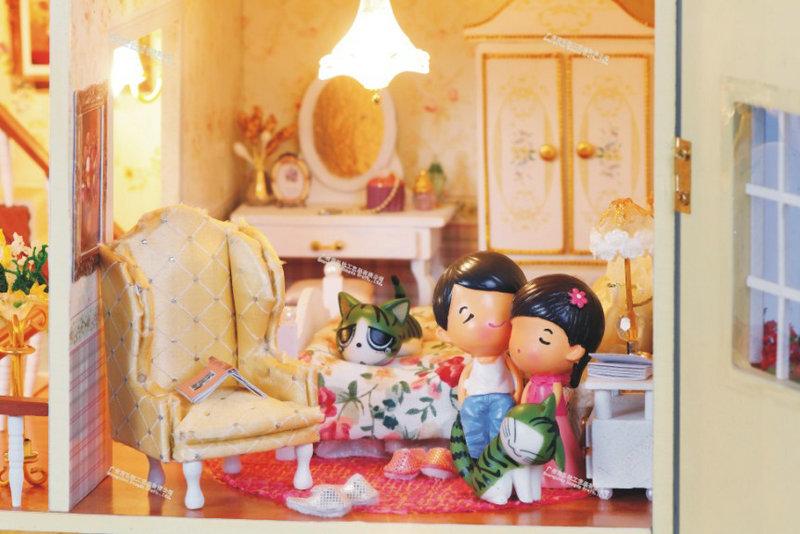 ofício diy brinquedo modelo de casa kits de construção de madeira casa de bonecas em miniatura artesanais montadas natal aniversário brinquedo de presente(China (Mainland))