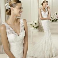 Fashionable New Sexy backless V-Neck Lace wedding dress 2014 White Tailing Mermaid wedding dresses casamento bridal gwon W101