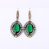 2014 New Style Luxury Statement Green Crystal Stone Droplets Flowers Earrings Women Fashion Big Brand Earring Jewelry Accessorie