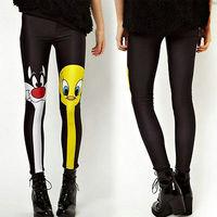 2014 New Fashion Women Girl Cartoon Print Leggings S,M,L Legging Stretch Pants Trousers