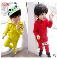 free shipping children sport set boy autumn suit zipper coat + pants boys 2pcs Suit kid's solid hoodie suit  2-7yrs 2 color