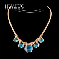 Dropping Shipping Christmas Gift  Zinc Alloy Snake Chain Luxury Round Rhinestone Statement Choker Necklace For Women#N1667 N1668